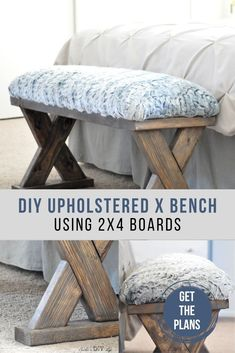 Learn to build this easy DIY bench with cushion. No sew and beginner-friendly woodworking project for the weekend. #woodworking #woodworkingproject #anikasdiylife
