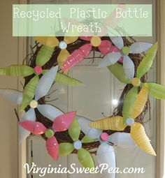 Craft a floral wreath using soda bottles.