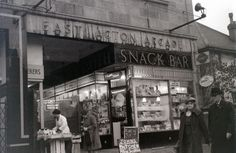 The board advertises that the snack bar sold tea for 3 old pence (just over 1p).