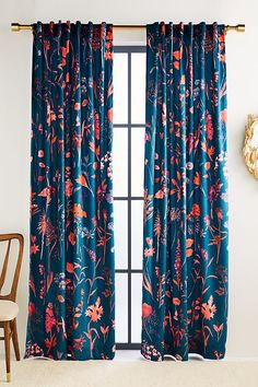 Layne Velvet Curtain by Anthropologie in Blue, Curtains - Home decor 3 - Bold Curtains, Printed Curtains, Colorful Curtains, Bedroom Curtains, Patterned Curtains, Blue Floral Curtains, Hallway Curtains, Teen Curtains, Blue Velvet Curtains