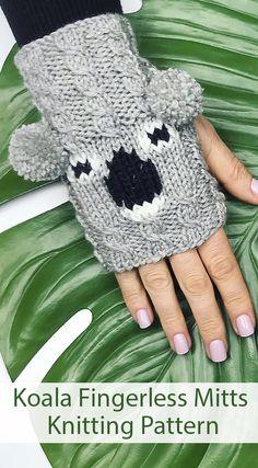 Knitting Pattern for Koala Fingerless Mitts proceeds donated to Australian Koala Foundation Kids Knitting Patterns, Knitting For Kids, Baby Knitting, Fingerless Gloves Knitted, Knit Mittens, Koala Craft, Kitten Mittens, Presents For Girlfriend, Beginner Knitting Projects