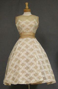 """Vintage Will Steinman Beige Organdy & White Lace 50's Cocktail Dress""  (front)"