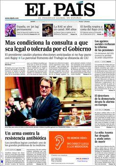 Los Titulares y Portadas de Noticias Destacadas Españolas del 26 de Septiembre de 2013 del Diario El País ¿Que le pareció esta Portada de este Diario Español?