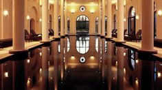 Black Indoor Swimming Pool At Four Seasons / France. Creepy but soo cool! Black Bottom Pools, Provence, Interior And Exterior, Interior Design, Spa, Indoor Swimming Pools, Four Seasons, Hotels And Resorts, Luxury Lifestyle