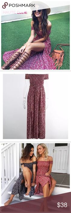 Odette Double Slit Front Off Shoulder Maxi Dress  Double Slit Front Off Shoulder Maxi Dress-Berry. Shirred bodice & sleeves. 95% polyester, 5% cotton. Price is firm unless bundled. Haute Ellie Dresses Maxi