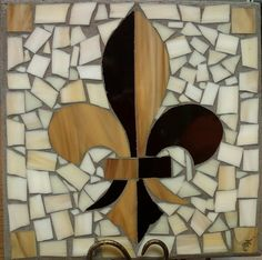 "12""/12"" stained glass Fleur de Lis ceramic tile or stepping stone. Looks great on a tripod stand or in the garden bed. Love making these. Watch for other designs."