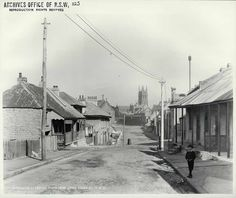 Gloucester Street looking south from liitle Essex Street, The Rocks [Rocks… The Rocks Sydney, Gloucester Street, Essex Street, Train Tunnel, As Time Goes By, Historical Images, Old Photos, Photo Art, Street View