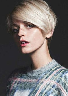 super short haircut with side swept hair. #hair.