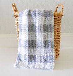 Crochet Gray and White Gingham Blanket - Daisy Farm Crafts