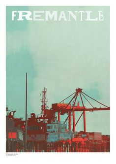 Fremantle Port Print by TRAM Vintage Travel Posters, Retro Posters, Local Events, Photo Wall Collage, France, Diy Canvas, Western Australia, Typography Design, Beautiful Pictures