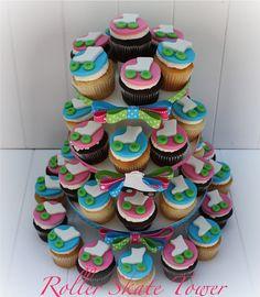 Roller Skate Cupcakes | Roller Skate Themed Cupcake Tower