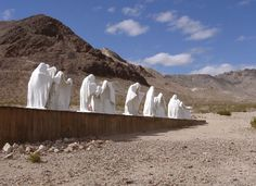 """Goldwell Open Air Museum in Rhyolite, NV / """"The Last Supper"""" Created in 1984 by Albert Szukalski / Photographer Riley McCoy"""