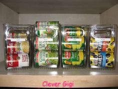 Tall Cabinet Cubby - great way to organize cans in pantry (each one holds 9 cans) $24.00