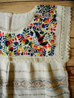 Multi color Mexican embroidered top traditional Oaxaca Huipil woven blouse hippie boho medium bird print bohemian embroidery