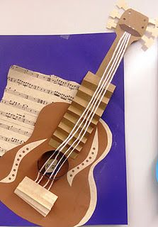 BluemoonPalette: Guitar Collage Inspired by Picasso Pablo Picasso, Kunst Picasso, Picasso Art, 6th Grade Art, Ecole Art, Guitar Art, Jazz Guitar, Art Lessons Elementary, Art Graphique
