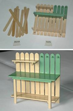 Una volta dopo aver mangiato la merenda mi divertivo a montare la ''sorpresa'',… Fairy Furniture, Barbie Furniture, Dollhouse Furniture, Miniature Furniture, Popsicle Stick Crafts, Craft Stick Crafts, Diy And Crafts, Popsicle Sticks, Miniature Crafts