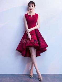 Short Prom Dresses Lace Burgundy Graduation Dress High Low Sleeveless Cocktail Party Dress True Style Never Dies Trendy Dresses, Cute Dresses, Sexy Dresses, Beautiful Dresses, Dress Outfits, Evening Dresses, Short Dresses, Formal Dresses, Bar Outfits