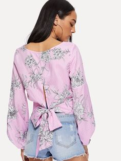 Bishop Sleeve Tie Back Mixed Print Top Casual Outfits, Fashion Outfits, Womens Fashion, Western Tops, Short Shirts, Bishop Sleeve, Boho Tops, Designer Dresses, Nice Dresses
