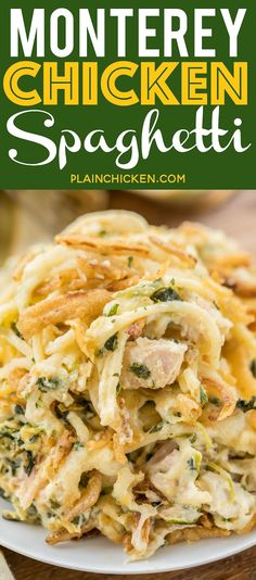 Monterey Chicken Spaghetti Casserole my whole family went crazy over this easy chicken casserole Even our super picky eaters Chicken spaghetti sour cream cream of chicke. Chicken Spaghetti Casserole, Chicken Spaghetti Recipes, Pasta Recipes, Chicken Recipes, Dinner Recipes, Cooking Recipes, Healthy Recipes, French Spaghetti Recipe, Mexican Chicken Spaghetti