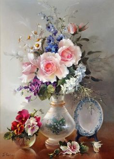 Still Life – Roses and Wisteria in Porcelain Vase