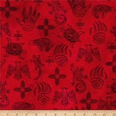 Designed by Whistler Studios for Windham, this cotton print collection features native american motifs. Perfect for quilting, apparel, and home decor accents. Colors include red and black.