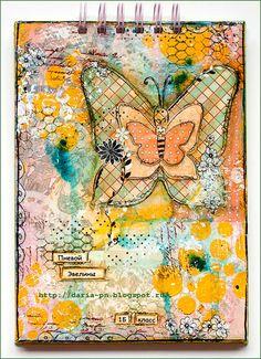 Mixed media notebook. Size 21*15 cm. Made by Daria Pneva.