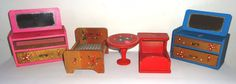 Vintage Doll House Furniture - Bed Crib Dressers & Table Norwegian Painted