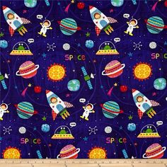 Designed by De Leon Design Group for Alexander Henry, this space themed print is out of this world! Look closely and you can find an astronaut, planets, a shooting star and a satellite. Use this fabric for quilting and craft projects as well as apparel and home décor accents. Colors include black, purple, red, green, orange, gold, pink, grey, black, white and yellow.