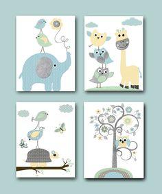 Lot de 4 illustration pour enfant a4 illustration pour - Illustration chambre bebe ...