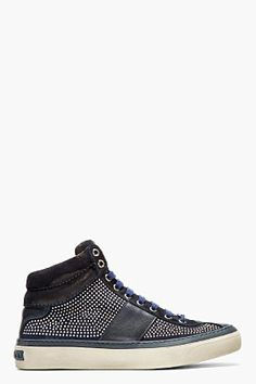 ecca7d57719 Jimmy Choo Black Leather  amp  Suede Studded Belgravia Sneakers for men