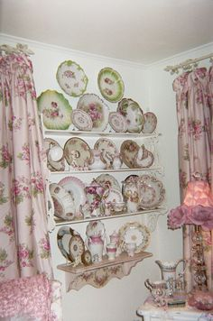 Gorgeous wall display of gorgeous china~I would hang pieces too fragile or expensive to use but still want to enjoy their beauty.