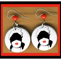 BLINDFOLD Woman button earrings by SugarPlumRobots on Etsy, $5.99