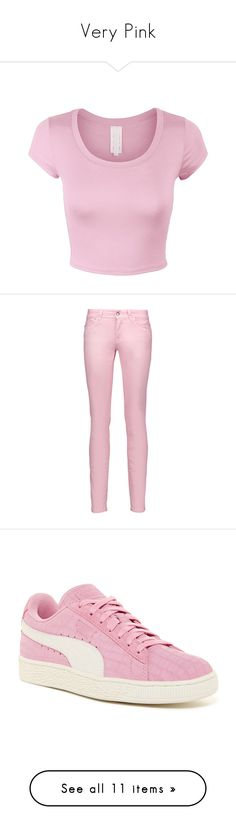 """""""Very Pink"""" by mgonzalex on Polyvore featuring tops, shirts, crop tops, crop, pink, short sleeve knit tops, knit crop top, short-sleeve shirt, pink knit top and short sleeve tops"""
