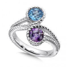 Anniversary hint: sterling silver, amethyst and blue topaz diamond ring.