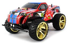 Back in stock Big Wheel King Electric RC Truck BIG 1:10 Scale Monster RFS Off Road Ready To Run RTR w/ Working Suspension and Spring Shock Absorbers (Colors May Vary)