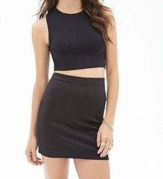 """Scuba Knit Skirt-classic design, unlined, 16"""" full length, 26"""" waist, """"exposed back zipper"""", back waist darts, machine wash cold, 98% polyester/2%spandex, I own black & hot pink, product code 2000083616, Forever 21 (s)"""