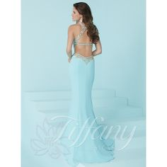 ee701d6d2fba Tiffany Designs 16252 has a illusion neckline with jelly stone beaded  bodice and cutout waist and a fitted jersey slim flare skirt.