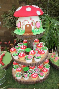 mushroom cupcakes and cups of earth (chocolate cupcakes with green frosting for grass + flowers or insects)