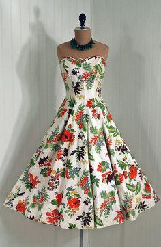 vintage white tropical print floral dress