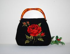 Vintage Red Roses on Black Needlepoint by CheekyVintageCloset, $64.00