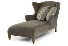 Hall Wingback Chaise, Charcoal