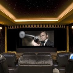 Theatre room...love the ceiling.