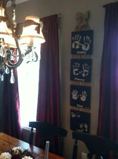Family handprints :) diy painted canvas black cream burlap kitchen home decor wall