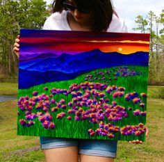 This is an acrylic landscape painting on gallery-wrapped canvas by Ashley Baldwin! Prints now available. :)
