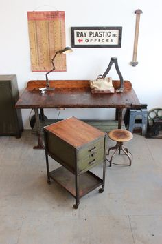 Vintage Industrial Lyon Rolling Steel Tool/ Parts/ Cabinet/ Kitchen Island - 1940s