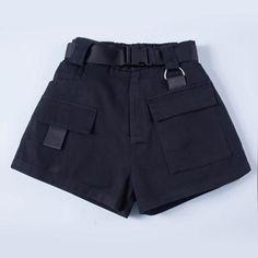 2018 Elastic High Waist Shorts For Women Black Summer Belt Shorts Vintage Sexy Cotton Biker Pocket Shorts Feminino Plus Size Cargo Shorts Women, Shorts Outfits Women, Short Outfits, Dressy Outfits, Chic Outfits, Black High Waisted Shorts, Belted Shorts, Women's Shorts, Black Shorts