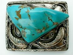 Vintage Turquoise and Silver Belt Buckle