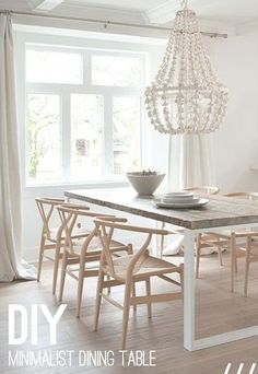 reclaimed wood from rcmp horse barn for tabletop + wishbone chairs + craft chandelier in dining room by kelly deck via style at home Dining Room Inspiration, Home Decor Inspiration, Style At Home, Home And Deco, Dining Room Design, Design Room, Beach House Decor, Home Staging, Home Fashion
