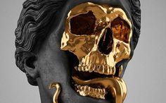 The God Of The Grove, 2013. gold-plated brass, polymer, distressed black finish, marble. Courtesy of Hedi Xandt.