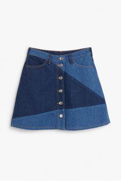 Monki Image 1 of Denim skirt in Blue